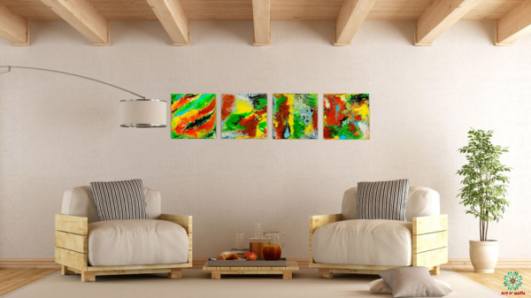 Fluid art on stretched canvas: Neon colours (set of 4)