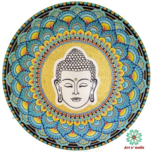 Buddha decorative plate (hanging): Exclusive Range(aqua blue)