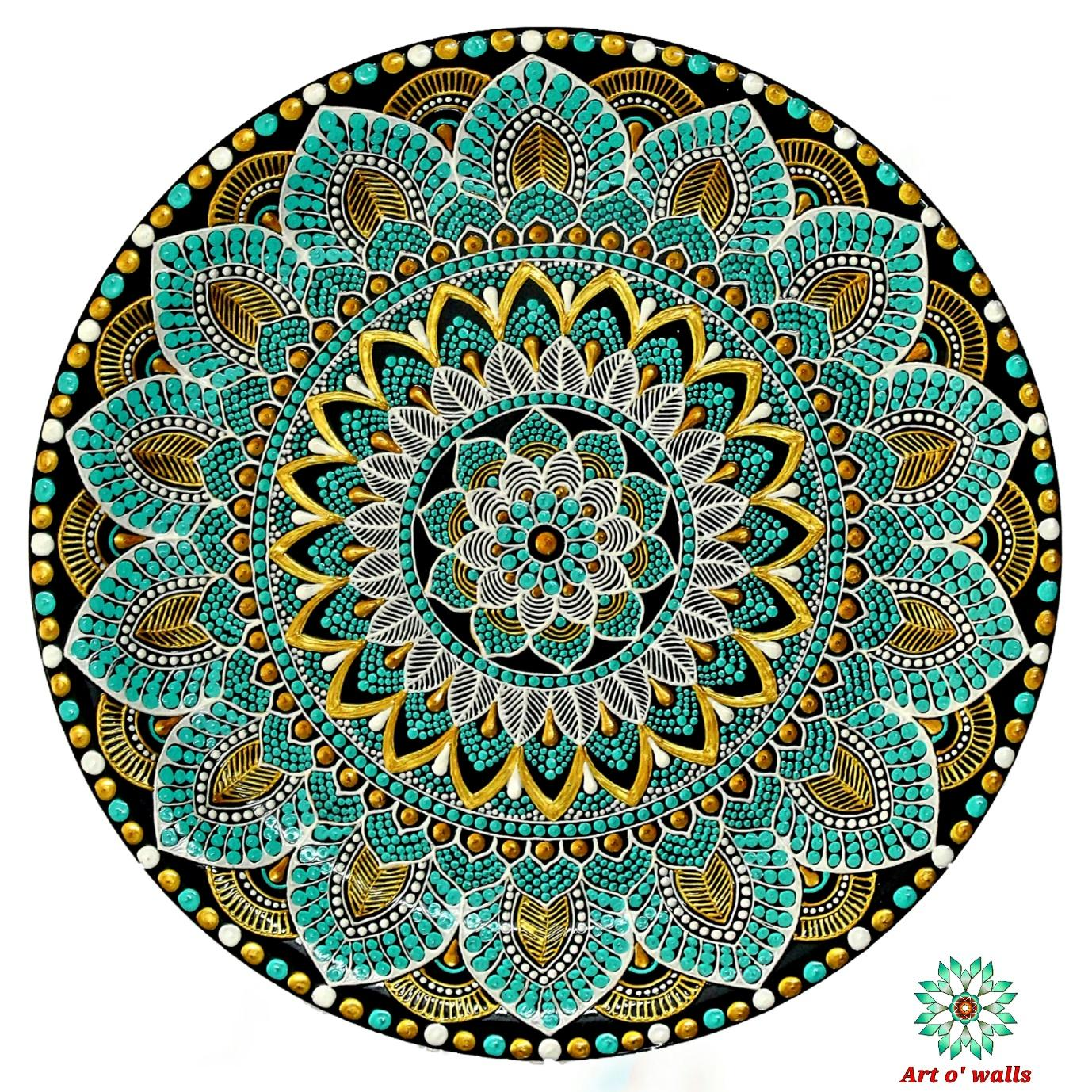 Aqua Green Mandala Style Decorative Plate(hanging): Exclusive Range