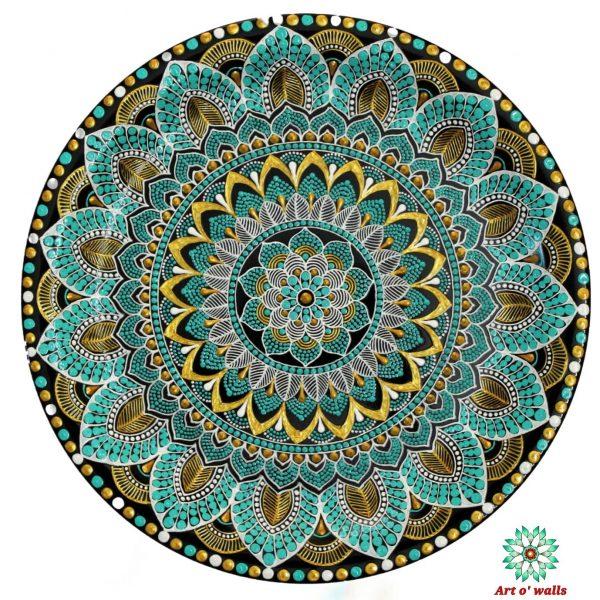 Aqua Green Mandala Style Decorative Plate(hanging) Exclusive Range