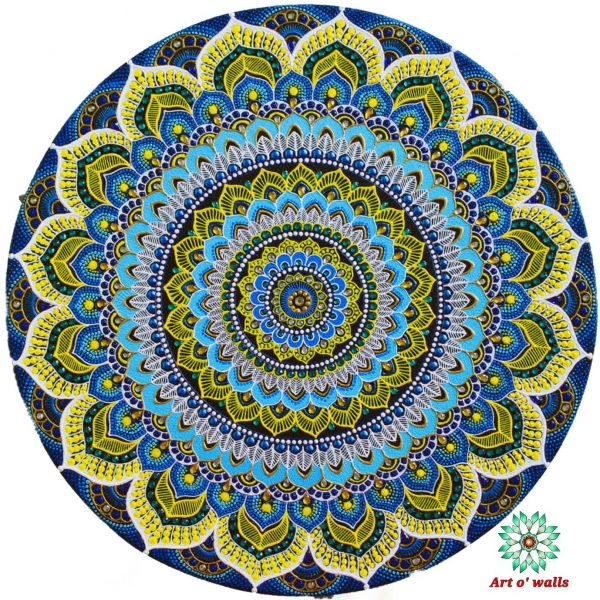 Mixed media mandala art on stretched canvas (round): Blue and Yellow