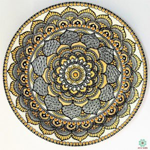 Mandala style Decorative plate(hanging) Black, white & gold: Exclusive Range