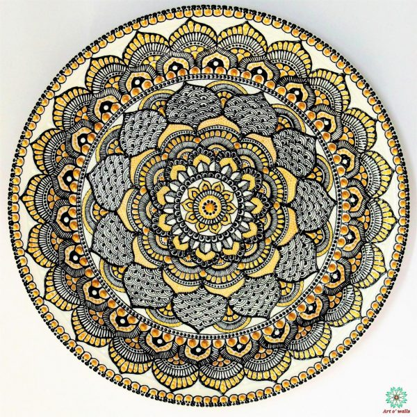 Mandala style Decorative plate(hanging) Black, white & gold: Exclusive Range