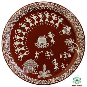 Warli art Decorative plate(hanging)