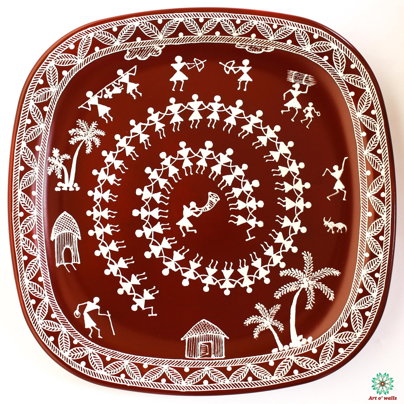 Warli art Decorative plate(hanging) Square round