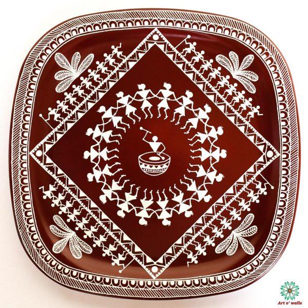 Warli Art Decorative plate(hanging): Square round