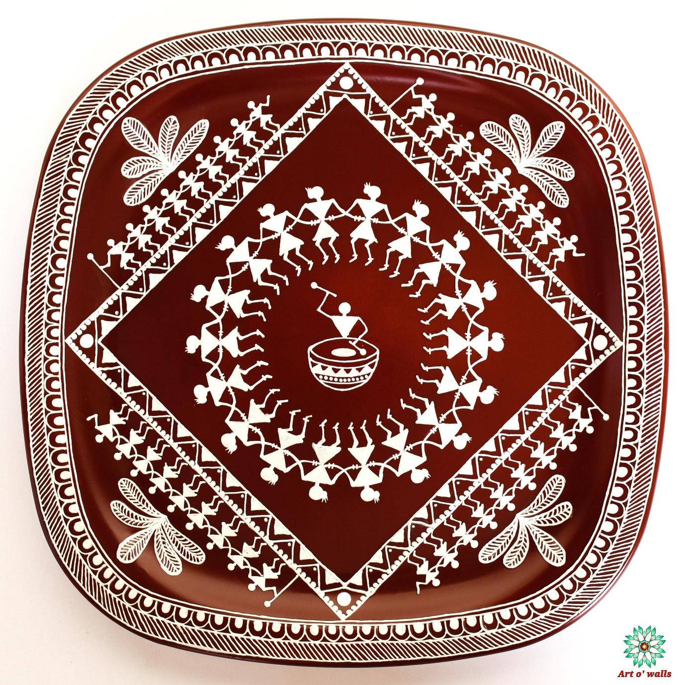 Warli Art Decorative plate(hanging): Square round