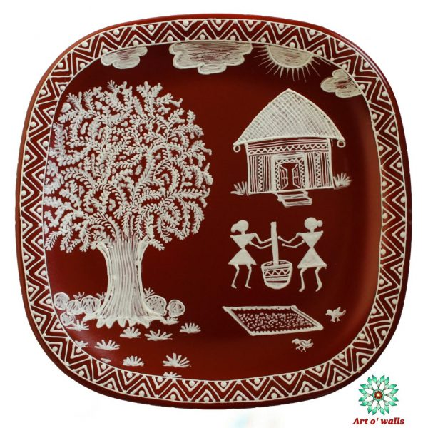 Warli Art Decorative plate(hanging): Small Square round (set of 2)