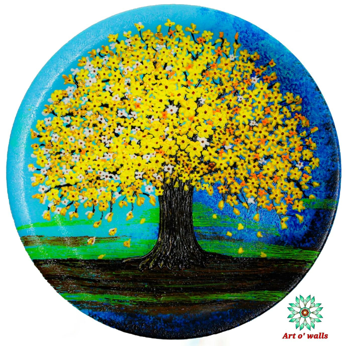 Blossoms Yellow : Decorative plate (hanging)