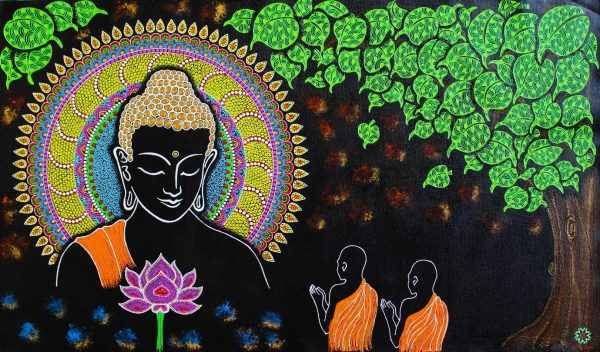 The Preaching- Buddha painting: Mixed media art on canvas
