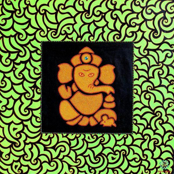 The Green Ganesha- Mixed media on canvas