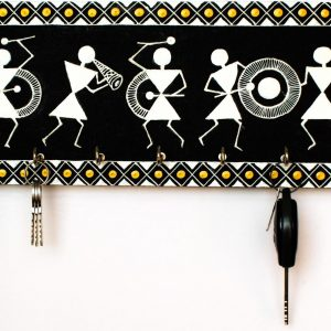 Warli Art Key Hanger (black, white &gold)