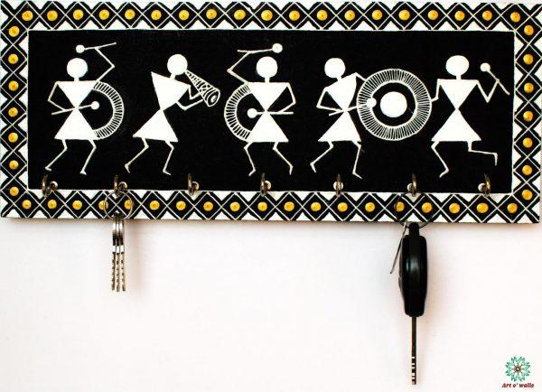 Warli Art Key Hanger (black, white &gold)