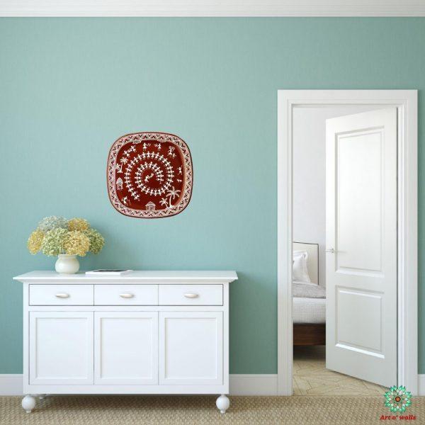 Warli art Decorative plate(hanging) Square round