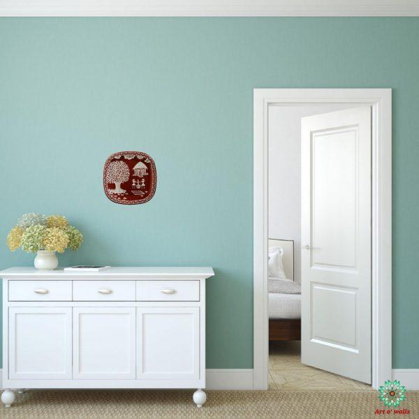 Warli Art Decorative plate(hanging): Small Square round