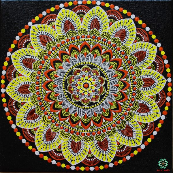 The mandala trio on stretched canvas: Pastel colours (set of 3)