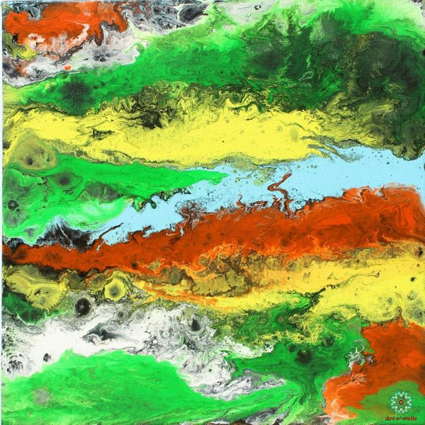 Fluid art on stretched canvas: Neon colours 2(set of 4)