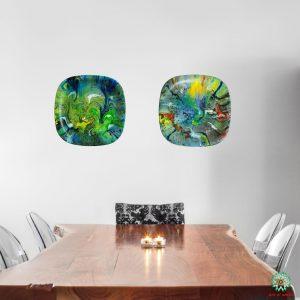 Fluid Art Decorative plate(hanging): Neon colours (Set of 2):