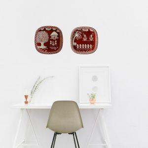 Warli Art Decorative plate(hanging): Small Square round (set of 2)