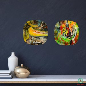 Fluid Art Decorative plate(hanging): Neon colours (set of 2)